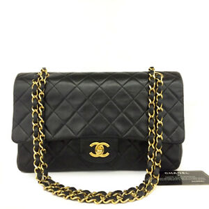 CHANEL Double Flap 25 Quilted CC Logo Lambskin w/Chain Shoulder Bag Black/90189
