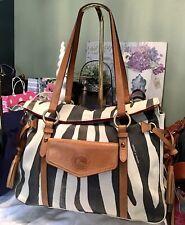 Dooney Bourke Smith Bag Florentine Leather Zebra Denim Natural Brown Cream Black