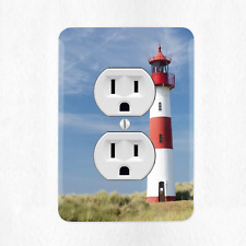 Lighthouse Electrical Outlet Cover Plate Duplex Beach Ocean Sunset New