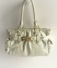 PAOLA DEL LUNGO Italy New Pebbled Leather Frost Pearl White Large Shoulder Bag