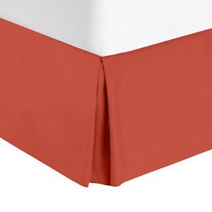 """Solid Luxury Pleated Tailored Bed Skirt - 14"""" Drop Dust Ruffle, Twin XL - Orange"""