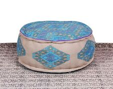 Embroidered Ottoman Round  Poufs Footstools Poofs Cover Bean Bag