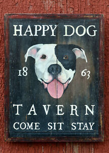 "Medium-Size Repro-Original Art - ""Happy Dog Tavern"" Pit Bull Pub Sign 0n Wood"