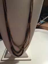 $58 Kenneth Cole Mixed Bead Multi Layer Gold Tone Necklace #479