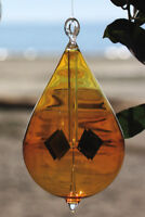 Hanging Hand Blown Amber Glass 6.5 Inch Solar Radiometer Teardrop Shape