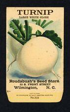 ANTIQUE 1918 TURNIP WHITE GLOBE SEED PACKET / ROUDABUSH SEED STORE, N.C. R-102