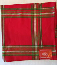 PAIR Lenox Christmas Napkins 'Holiday Gatherings Plaid' Red Green Cotton NEW