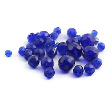 Lot (32) vintage 1930's Czech round oval faceted cobalt blue glass beads