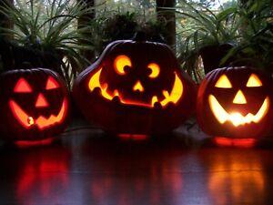 Jack-O-Lantern 3 Pumpkins Foam Gemmy Light Up Halloween Vintage 90s