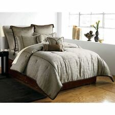 Brand New 4PC Silver Silk Comforter Set, Comforter, Shams & Bedskirt