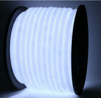 Pure White 360 Degree LED Neon Rope Light DIY AD Sign Home Decor Outdoor 110V US