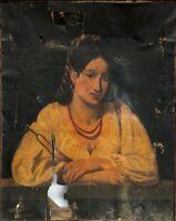 HUILE SUR TOILE PORTRAIT FEMME GITANE 1845 SIGNATURE ROUGE A IDENTIFIER B3053