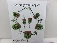 The Beaded Bear Art Nouveau Poppies Beaded Necklace Earrings Chart & Beads Kit