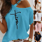 Women Summer Short Sleeve T Shirt Cold Shoulder Casual Loose Print Solid Blouse