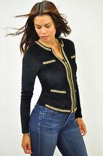 New Women's CARMIN Fashion Velour Knit Jacket Double Gold Chain Small Black