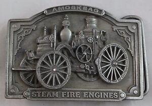 "Belt Buckle Steam Fire Engines 1985 Amoskeag Bergamot Brass Works 3""x2-1/4"" H-42"