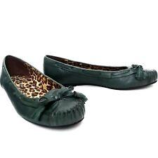 Gianni Bini Hunter Green Leather Flats Womens Size 8M Boat Shoes Mocassin Toe