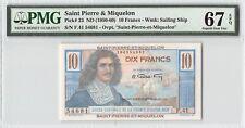 Saint Pierre & Miquelon ND (1950-60) P-23 PMG Superb Gem UNC 67 EPQ 10 Francs