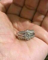 1.50Ct Round VVS1 Diamond Engagement Wedding Ring Trio Set 14K White Gold Finish