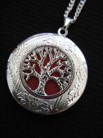 Tree of Life LOCKET Necklace Pendant Gothic Orange Silver Vintage Fantasy Fae