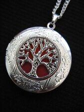Árbol de la vida Medallón Collar Colgante Gótico Orange Silver Vintage De Fantasía Fae