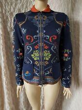 IVKO marine blue  jacquard 100% wool embroidered back zipped jacket size 38