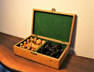 Antique/vintage chess set schachfiguren alt holz