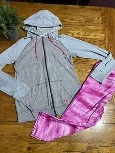 Under Armour Crop Leggings Pink Tie Dye And Gray Hoodie Women's Both Medium