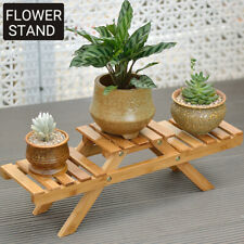 Flower Shelf Stand Wooden Rack Palnt Pot Bamboo Corner Garden Indoor Outdoor
