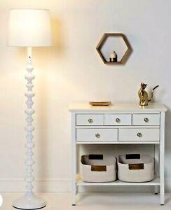 PillowFort White Floor Lamp Stacked Ball Design Touch Sensor Warm Light NEW