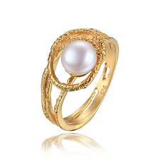 Hot Fresh Water Pearl Engagement Rings 925 Sterling Silver 15k Gold Plated Sz 8