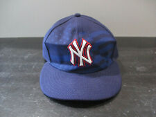 New Era New York Yankees Hat Cap Fitted Size 7 3/8 Blue Red Baseball Mens