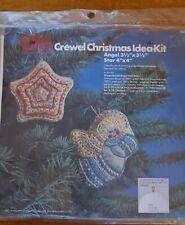 1978 Vintage CM Crewel Christmas  Kit 7860 2 Ornaments Gingerbread Angel & Star