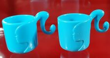 Barbie Vintage Blue Mugs Pony Tail Handles Dreamhouse Diorama Dolls Accessory