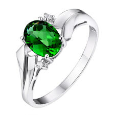 #R1165 1.5ct Forest Green Helenite White Gold Over 925 Silver Ring