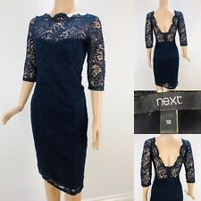 Womens NEXT Navy Blue Fitted Lace Dress UK 10 Dinner Evening Half Sleeve Elegant
