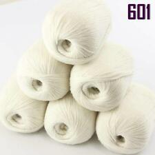 Sale New Lot 6 Skeins x50g Super Fine Pure Cashmere Hand Knitting Yarn 601 White