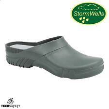 More details for stormwells u222 green unisex comfy garden clogs pvc gardening shoes welly shoes
