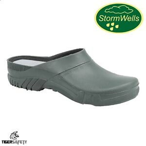 Stormwells U222 Green Unisex Comfy Garden Clogs PVC Gardening Shoes Welly Shoes