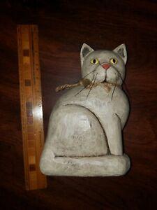 2004 JOHN P BURCH WOODEN CAT CARVING