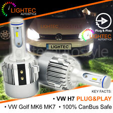 LIGHTEC H7 CSP LED HEADLIGHT BULBS KIT 7600LM CANBUS 72W DRL VW GOLF MK6 MK7