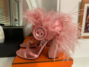 Prada Feather-trimmed satin sandals Baby Pink Size 37 1/2