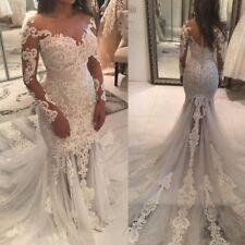 White Ivory Mermaid Wedding dress Long Sleeves Lace Applique Bridal Gown Custom