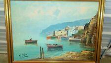 Impressionist Painting FISHERMEN BOATS SPANISH BEACH AND VILLAS OIL