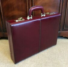 Vtg Burgundy Leather Slim Attache Lawyer Brief Case Hard Shell Suede Combo Lock