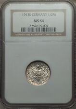 Germany 1913E 1/2 Mark NGC MS64 rare (highest grade at NGC)