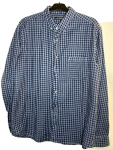 Mens French Connection Fcuk Long Sleeve Top Woven Gingham Checked Shirt Sz Large