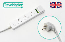 World Wide Travel Adapter EUROPE EU Extension Lead Multi 3 UK Plug 4 USB to 2...