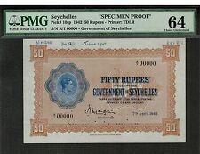 SEYCHELLES 1942 50 RUPEES SPECIMEN PROOF P10sp PREFIX A/1 CHOICE UNC PMG 64
