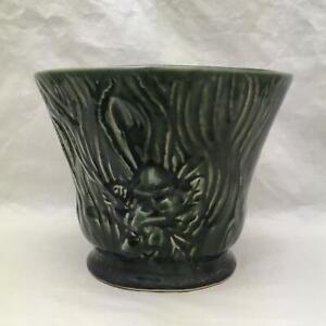 Brush McCoy Pottery Vintage Planter 1930/'s Sylvan Line Hollyhocks Turquoise Planter Attached Saucer